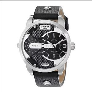 Diesel mini daddy stainless steel leather watch